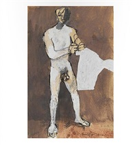 figure holding a shirt by keith vaughan