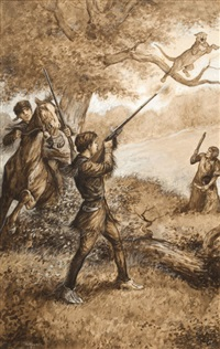 men shooting cougar by william allen rogers