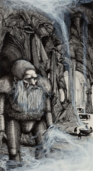 pair of eaters of the dead book illustrations by ian miller
