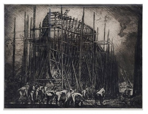 the building of the ship by sir frank brangwyn