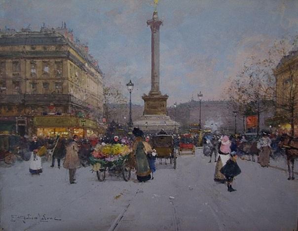 place de la bastille by eugène galien-laloue
