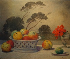 nature morte (still life with fruit and flowers in a breton landscape) by ferdinand puigaudeau