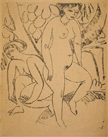 two girls bathing (decorative study) by ernst ludwig kirchner