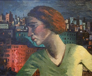 portrait of a woman and montmartre by frans masereel