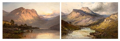 loch lomond & a trout stream near stirling by alfred de breanski sr