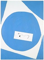 in blue and white with calligraphy by robert motherwell