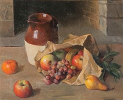 still life with fruit and pitcher by robert brackman
