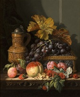 still life of grapes, raspberries and peaches by edward ladell