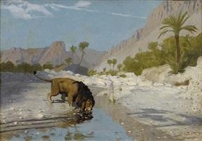 lion drinking from a desert stream by jean-léon gérôme