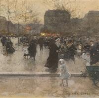 a parisian café scene by luigi loir
