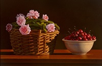 still life with cherries and roses by david ligare