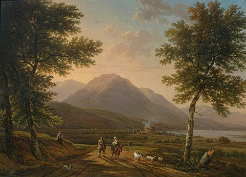 mountainous region with herdsmen / gebirgslandschaft mit hirten by victor de grailly