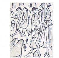 group of figures by laurence stephen lowry