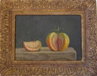 red-green tomato, wedge removed and alongside, on a dark grey background by robert kulicke