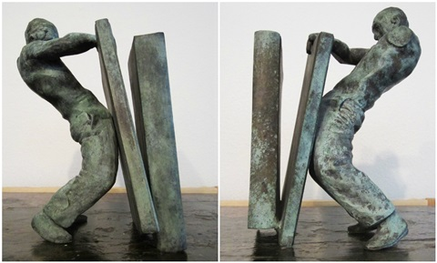 rodchenkos nightmare pair of bronze bookends by juan muñoz