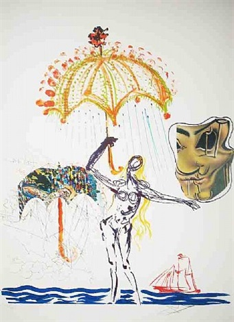 anti-umbrella with atomized liquid by salvador dalí