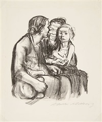 two chatting women with two children by käthe kollwitz