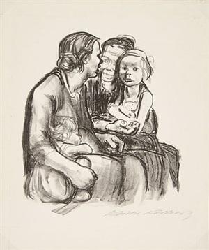 two chatting women with two children by käthe kollwitz