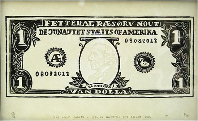 the villy dollar - danish phonetic one dollar bill by søren behncke