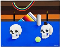 still life on canvas (two skulls) by richard colman