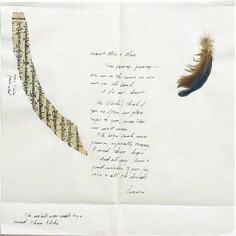 letter with collage by lenore tawney