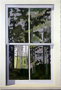 view through elliot's shack, looking south by lois dodd