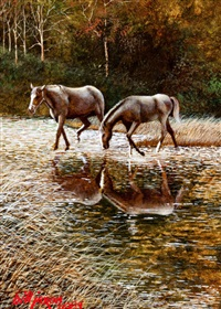 horses at stream by bill jaxon