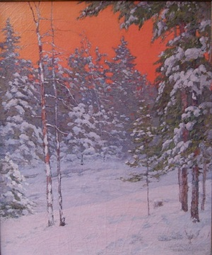 pines in winter at sunset by alfred jansson