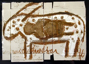 untitled (white animal with brown spots with brown figure in body) by michel nedjar