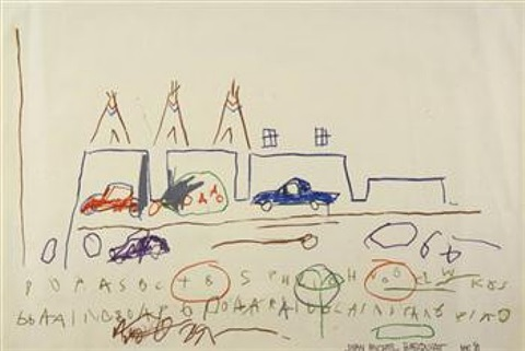 cars and teepees by jean-michel basquiat