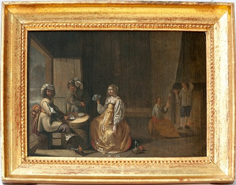 genre scene with card players / genreszene mit kartenspielern by jacob duck