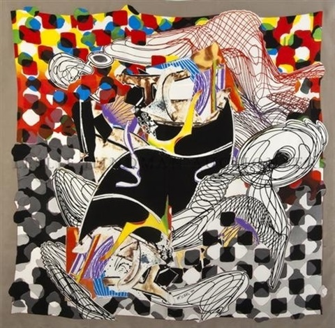 the whale watch shawl hand signed silkscreen on silk in red silk presentation gift box by frank stella