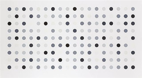 black and white spot piece by damien hirst