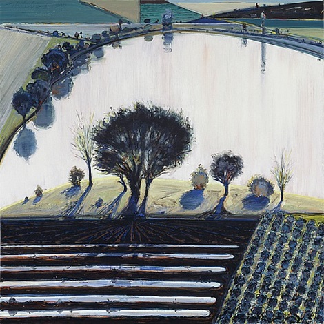 <i>river pool</i>, 1997<br>oil on canvas, 36 x 35.75 inches<br>acquavella galleries by wayne thiebaud