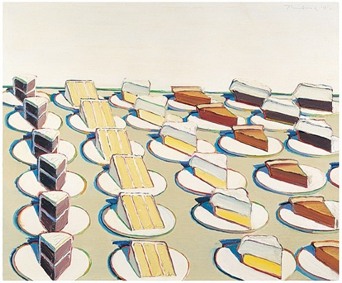 <i>pie counter</i>, 1963<br>oil on canvas, 30 x 36 inches<br>whitney museum of american art, new york: purchase with funds from the larry aldrich foundation fund (64.11) by wayne thiebaud