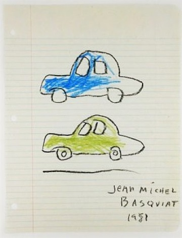 colored cars by jean-michel basquiat