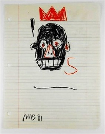 colored pencil drawing by jean-michel basquiat