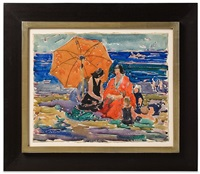 women and children on the beach by charles basing