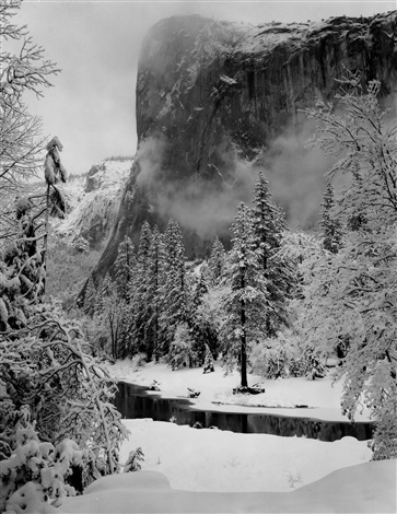 el capitan winter yosemite national park by ansel adams