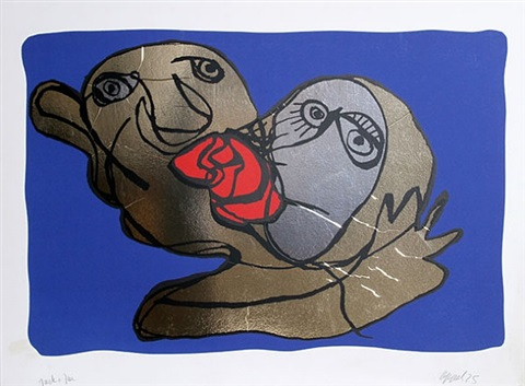 the blue kiss by karel appel