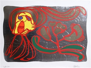 floating silver passion by karel appel