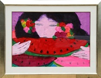 woman eating watermelon by walasse ting