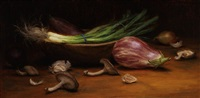 japanese eggplant and scallions (sold) by grace mehan devito