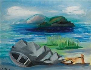 barque sur la rivage by moïse kisling