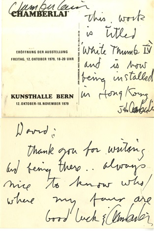 two handwritten personal notes autographed signed three times by john chamberlain