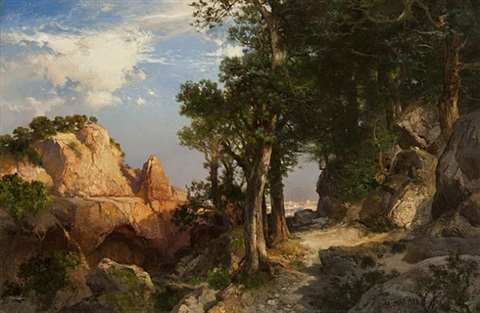 on the berry trail - grand canyon of arizona by thomas moran