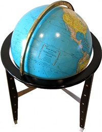 an ed wormley for dunbar illuminated globe on tripod base by edward wormley