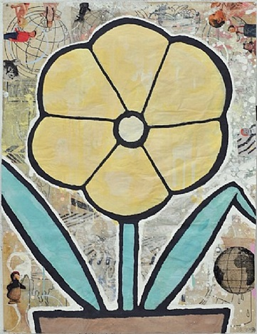 yellow flower by donald baechler