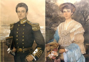 pair of portraits- captain and mrs. evelyn r. lemarchant by w. andresen