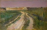 farmer on a country road by theodore robinson